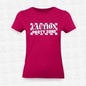 T-shirt Feminina Caution Party Zone – STAMP – Loja Online